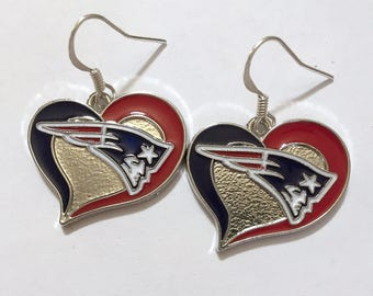 Patriots heart shaped earrings.