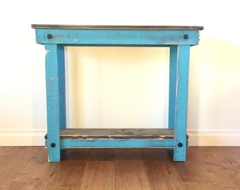 Rustic Handcrafted Reclaimed Console Table - Self Assembly - Teal
