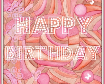 Happy Birthday Art Print Greeting  Card