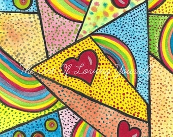 Love And Rainbows Blank Card From Art Print