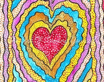 LOVE RADIATES  art print On BLANK Greeting Card