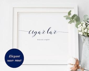 Cigar Bar Sign, Printable Wedding Cigar Bar Sign, Instant Download, PDF, Printable, navy blue, calligraphy sign, DIY wedding ideas