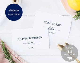 Wedding Place Card Printable, Place Card Template, Meal Choice Selection, Table Number Name Seating Instant Download PDF, Navy, #SPP008pc
