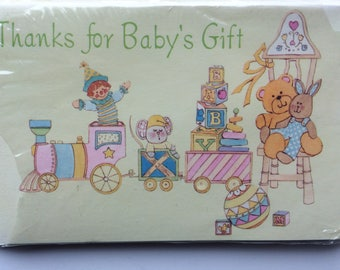 "Vintage ""Thanks for Baby's Gift"" Cards - Yellow with Toys, unopened package of 8 from 1970s"
