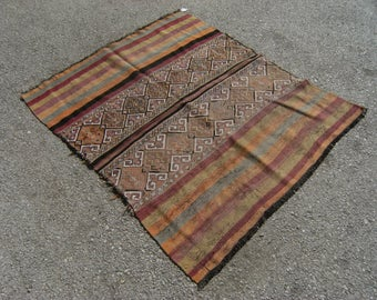 TURKISH Sumac Rug 57''-45''' HANDWOVEN Kafkas Sumac Rug 145x114 cm 70 years old