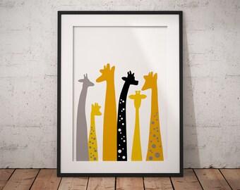 Giraffe print, nursery decor, giraffe nursery, giraffe decor, giraffe art, safari nursery, giraffe gift, nursery animal print, animal print