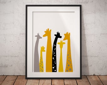 Giraffe art nursery, nursery animal print, giraffe gift, giraffe print, personalised nursery, nursery decor, safari nursery, trending now