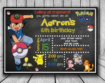 Pokemon Go Invitation, Pokemon Go Birthday Invitation, Pokemon Go Invitations, Pokemon Invites, Pokemongo Invitation, Party Printable