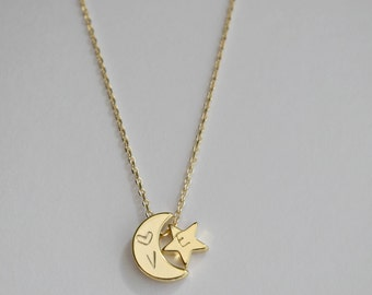 Initial gold Moon and star necklace, Moon and star charm  necklace,  bridesmaid gift, gift necklace,dainty initial necklace