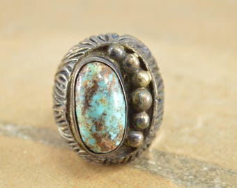 Native American Style Highly Textured Turquoise Oval Ring Size 7.25 Sterling Silver 24.7g Vintage Estate