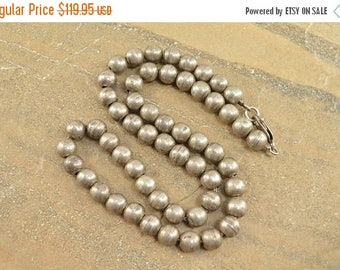 On Sale Round Ball Beaded Necklace Sterling Silver 39.3g