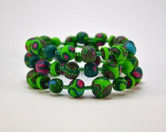 "Spiral bracelet ""Helia"", green"