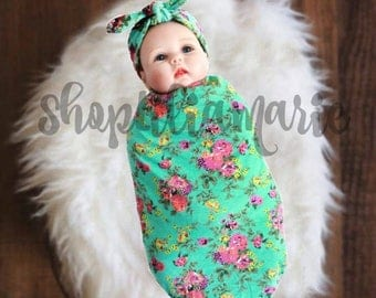 Swaddle Blanket Floral Swaddle Teal Swaddle Set with Purple Flowers Free Headband