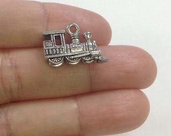 10pcs Stream Train Charm, Stream Engine Charm, Train Charm, Charm for bracelet, Charms for necklaces, Wholesale Charms, Pendants