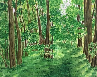 Original watercolor painting on paper. Title: Walk In The Park