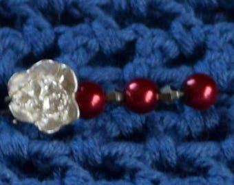 Brosch silverblomma