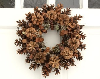 "14"" Pinecone and Lichen Wreath, Woodland Wreath, All Natural Wreath, Rustic Pinecone Wreath, Door Wreath, Table Decor"
