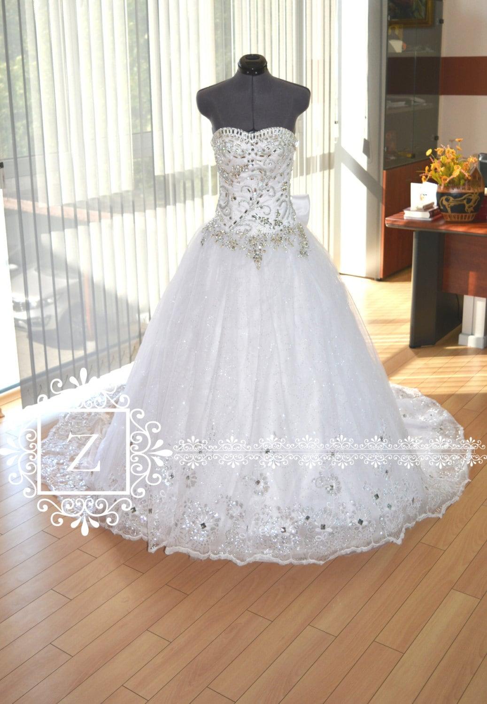 Wedding Dress Crystal Princess Long Train Corset Bridal