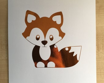Cartoon Fox ready to frame A4 orange foil print on white paper
