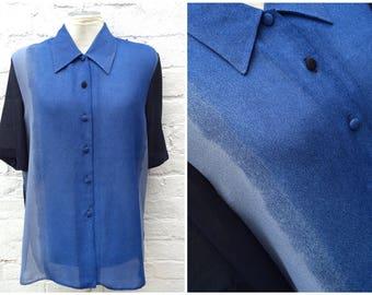 Vintage shirt, blue summer top, sheer blouse
