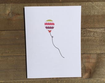 Happy Birthday Card Set / Green,Pink,Purple,Red Striped Balloon / Birthday Greeting Card / Birthday Invitations