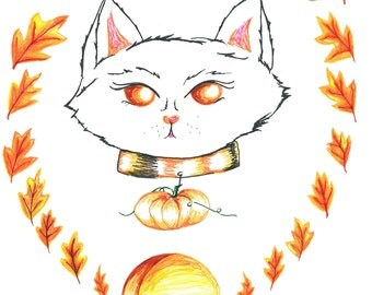 Harvest Cat Original Illustration Print