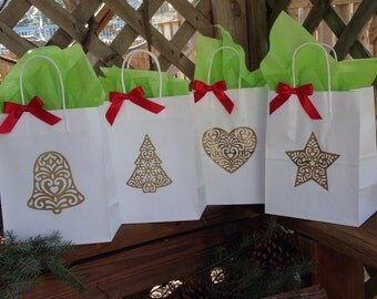 Holiday Gift Bags, Christmas Gift Bag, Custom Gift Bags, Favor, Party Gift, Set of 4, Ships in 3-5 Business Days