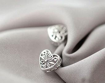 SALE! Earrings silver Amore Stud women vintage 925 heart love