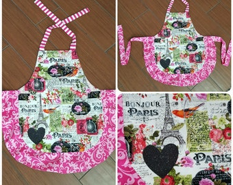 3 or 4 year old Apron! Darling colorful Paris apron with pink frill and ties. Black heat press sparkly heart.