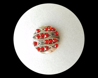 Snap Charm Button, Red Snap Jewelry. Fits 20mm Ginger snaps, Noosa, Magnolia & Vine and others