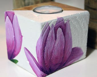 "Wood candle holder ""Magnolia"""