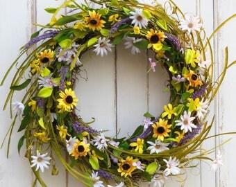 Spring Wreath, Front Door Wreath, Summer Wreath, Wreath for Spring/Summer, Daisy Wreath, Mothers Day Wreath, Wreath, Door Wreath for Spring