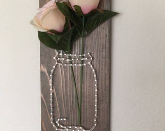 Mothers Day gift, mason jar string art, bouquet, mason jar flowers