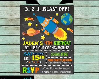 Outer Space Rocket Ship Spaceship Planets Stars Outerspace Birthday Party Chalkboard Invitations Invites ~ We Print and Mail to You