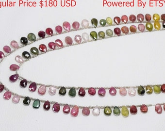 30% Discount Natural Tourmaline Multi Color Almond Pear Shape AAA Quality 13*8 - 11*8 MM Size 18 - 20 Inch Strand