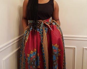Danshiki Maxi Skirt, African Print, High Waist Maxi Skirt
