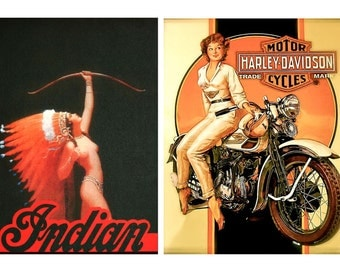 1:10 scale model vintage motorcycle pin up posters