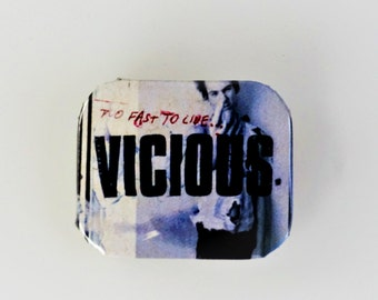 Sid Vicious - Too fast To Live Punk Pin Badge