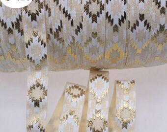 Cream with White and Gold Foil Aztec Geometric Design FOE Fold Over Elastic 5/8th Inch 16mm - per Yard - SS0120