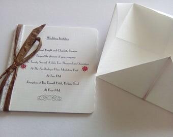 Wedding Invitations - Unique - Handmade - Origami - Childhood Memories - Linen Card - Original!