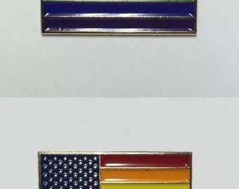 Set of Rainbow  and New Glory Pride flag pins (One of each)