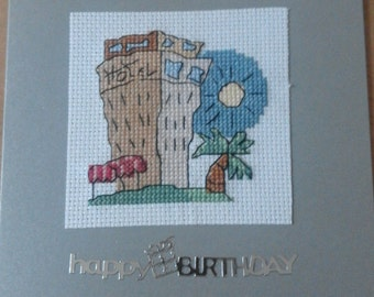 Happy Birthday cross stitch 'holidays' card