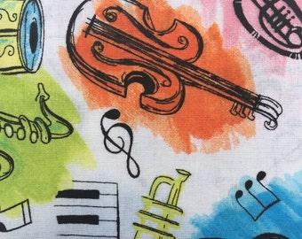 Musical Instruments Fat Quarters Violins, Trumpets, Piano, Sax, Drums, Guitar
