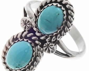 Navajo Turquoise Silver Ladies Ring Sizes 5-1/2 to 10