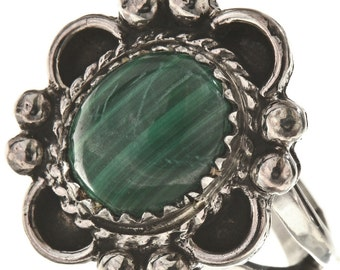 Green Silver Navajo Ring Southwest Design Ladies Malachite Gemstone Any Size