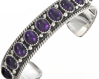 Native American Amethyst Silver Row Cuff Sterling Bracelet