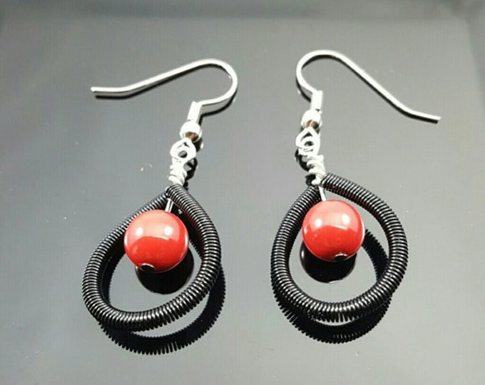 Handmade Red & Black Earrings