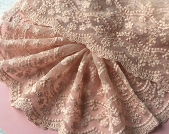 Orange Pink Lace Trim Orange Pink Floral Tulle Lace Embroidery - width 15cm 5.9 inches, 2 yards wedding lace,Embroidery Lace Trim