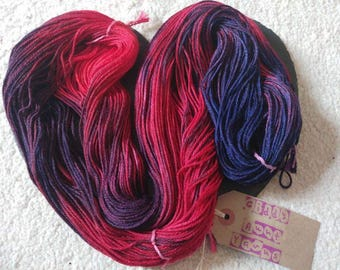 Mish Mash Hand Dyed Yarn 100g Hank Approx 225m DK Double Knitting Superwash Merino and Tussah Silk