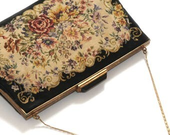 PETIT POINT TAPESTRY · Temple bag · Petit point Loupe embroidery · floral decor